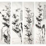 【已售】画竹名家戚明四尺水墨竹子条屏
