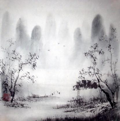 中国山水画 - 写意山水画 - 99字画网; 【已售】清雅小品山水画;