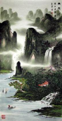 【已售】 四尺名家山水画《幽间清流图》