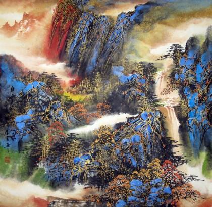 重彩山水画《白云深处有人家》 - 写意山水画 - 99