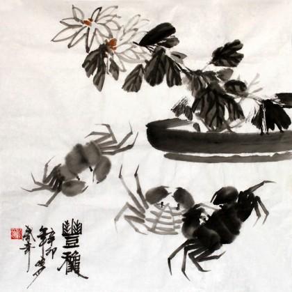 张春奇三尺斗方餐厅画《丰秋》徐悲鸿纪念馆艺术中心理事