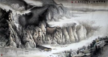 郑旺三六尺山水画《云岭朝晖图》