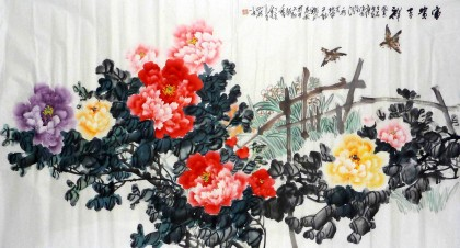 00 【已售】李胜春三尺斗方写意紫牡丹花瓶小品《一枝浓艳胆瓶中》图片