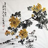 【已售】湖北美协庾超然四尺斗方菊花图