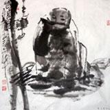 【已售】名家王志华四尺斗方《得道图》