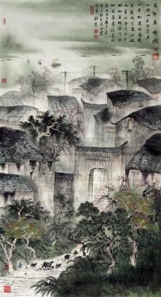 【已售】六尺国画山水《家乡春晓图》