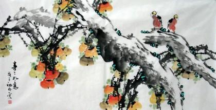 国画写意花鸟画《事事如意》 - 柿柿如意 - 99字画网