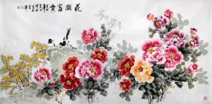 王宝钦六尺精品牡丹图《花开富贵》(询价)