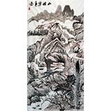 【已售】老庄四尺山水国画《山林乐事图》