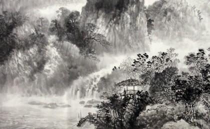【已售】客厅装饰山水画四尺《雨后泉声》