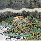 【已售】宁良成四尺斗方玄关田园画《花香庭院》