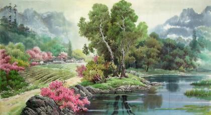 朝鲜乡村风景《故乡的春天》 - 朝鲜画 - 99字画网