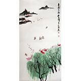 【已售】李明成三尺山水画《春满太湖》