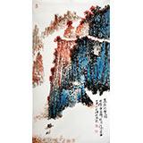【已售】北京名家李明成三尺玄关写意山水画《高路入云端》
