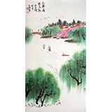 【已售】李明成三尺山水画《太湖之滨》