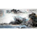 【已售】杨春三尺山水国画《清江烟云》
