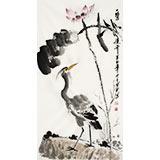 【已售】王宝钦 风水花鸟画《一鹭连升 》当代花鸟牡丹画名家(询价)
