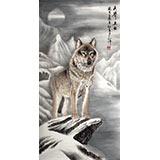 四尺国画雪山狼《天界卫士》