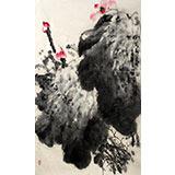【已售】李明成四尺三开国画《墨荷图》