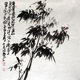 李明成四尺斗方图《墨竹图》中国书法家协会会员