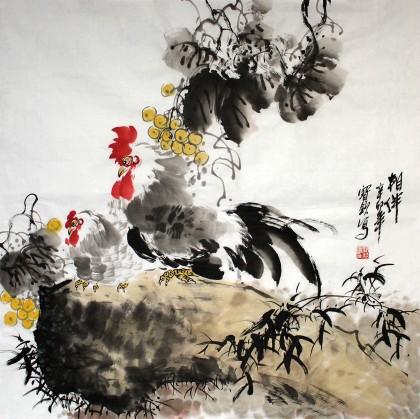 王宝钦四尺斗方卧室画《相伴》(询价)