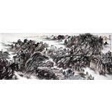 龙瑞工作室画家宁全喜小八尺作品《叠翠图》