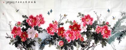 河南美协王芳小八尺牡丹图《春风富贵鸟语花香》