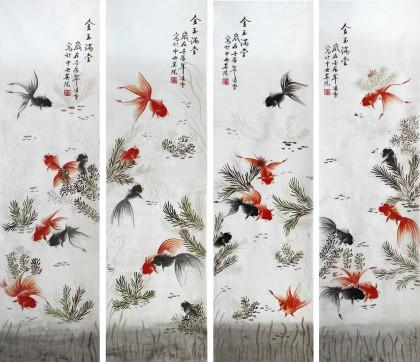国画金鱼作品 - 九鱼图