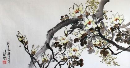 朝鲜一级画家吴庆哲《木兰花的芳香》