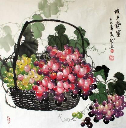 【已售】四尺斗方国画葡萄《硕果累累》