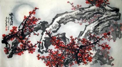 中国画梅花《傲雪图》 - 梅花图 - 99字画网