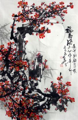 中国画梅花《福寿图》 - 梅花图 - 99字画网