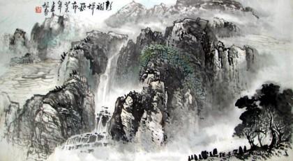 名家写生山水画《彭祖坪飞瀑》 - 写意山水画 - 99