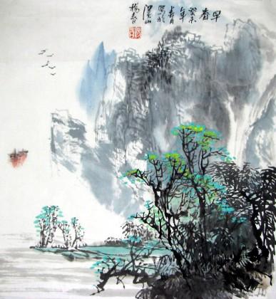 杨春三尺斗方山水画《早春图》