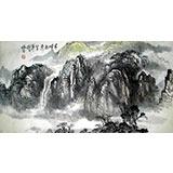 【已售】杨春三尺山水作品《千峰竞秀》