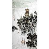 【已售】庾超然黄鹤楼作品系列之《黄鹤楼前江水流》