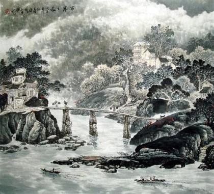 斗方国画山水 古寨之晨 写意山水画 99字画网