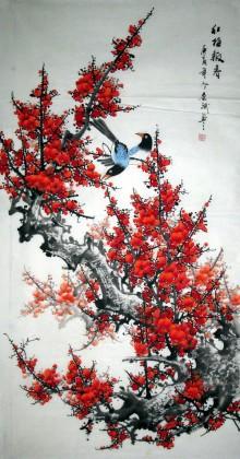 中国画梅花《梅开五福》 - 梅花图 - 99字画网