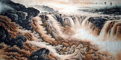 壁纸 风景 国画 旅游 瀑布 山水 桌面 420_209