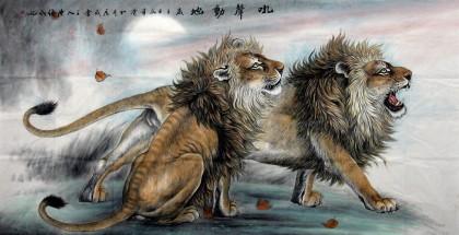 狮子国画 雄狮图