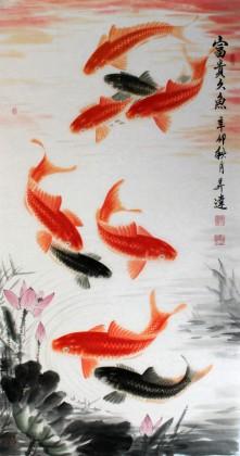 【已售定制询价】画鱼名家周升达四尺作品《富贵久鱼》