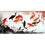 【已售定制询价】中国画院周升达四尺《富贵久鱼》