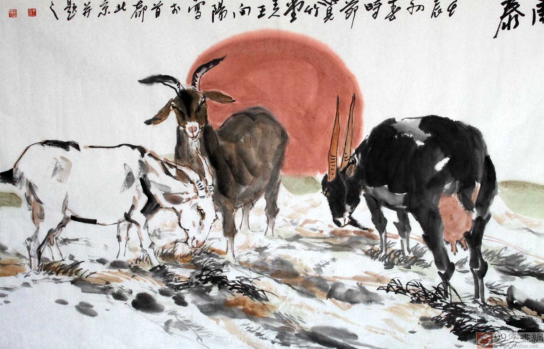 国画三羊开泰 - 动物画 - 99字画网