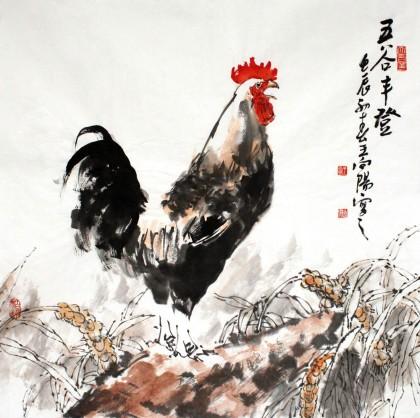 五谷贴画作品鸡