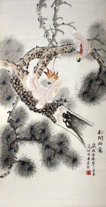 凌雪三尺花鸟画《松间栖禽》