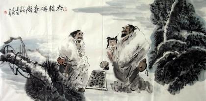 【已售】四尺古代人物画《松下对弈图》