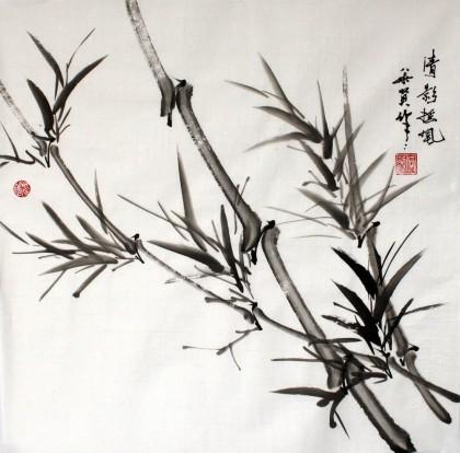国画竹子叶步骤
