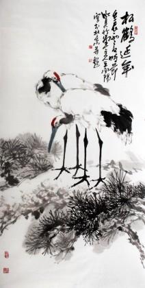著名画家王向阳四尺作品《松鹤延年》