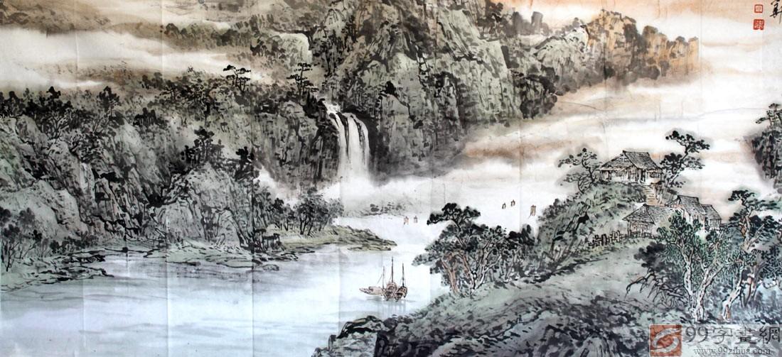 钱塘湖春行手绘画