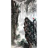 王凌云三尺山水作品《深山飞瀑》